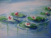 Monet Drawings Posters - Lilies On A Pond Poster by Eric  Schiabor
