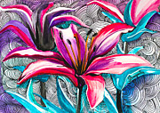 Watercolor Mixed Media Framed Prints - Lilium Framed Print by Lyubomir Kanelov
