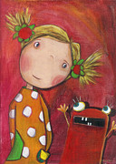 Girl Paintings - Lilli with her Monster by Sonja Mengkowski