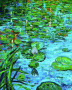 Lilly Pond Paintings - Lilly Pads by Linda J Bean
