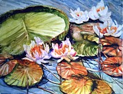 Lilly Pond Painting Prints - Lilly Pond Print by Donna MacLure