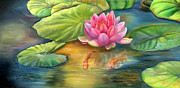 Lilly Pond Paintings - Lilly Pond by Kathy Brecheisen