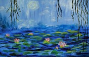 Lilly Pond Paintings - Lillys in Pond by Margaret Pappas