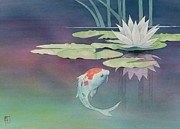 Watercolor  Paintings - Lily And Koi by Robert Hooper