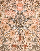 Pink Flowers Tapestries - Textiles Prints - Lily and Pomegranate wallpaper design Print by William Morris