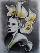 Charcoal Pastels Framed Prints - Lily Framed Print by Carla Carson