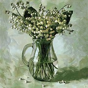 Interior Still Life Mixed Media Metal Prints - Lily of the Valley Metal Print by Vasiliy Agapov