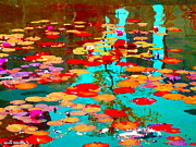 Lake Relections Prints - Lily Pads And Koi Colorful Water Garden In Bloom Waterlilies At The Lake Quebec Art Carole Spandau  Print by Carole Spandau