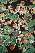 Photorealism Painting Prints - Lily Pads and Leaves Print by Anthony Mezza
