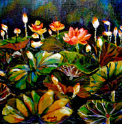 Lotus Bud Paintings - Lily Pond by Angela Tsang
