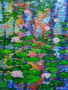 Lotus Leaves Paintings - Lily Pond Colorful Reflections by Ana Maria Edulescu