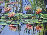 Lily Pond Reflections Print by Donna Tuten