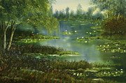 Lilly Pond Painting Prints - Lily pond Print by Steven Ward