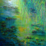 Impressionist Mixed Media Acrylic Prints - Lily Pond Tribute to Monet Acrylic Print by Claire Bull
