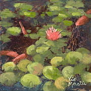 Vic Mastis Originals - Lily Pond with Gold Leaf by Vic Mastis by Vic  Mastis