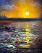 Sunsets Original Paintings - Lily Sunset 3 by Gina De Gorna