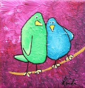 Yellow Beak Painting Posters - Limb Birds - Green and Turq Poster by Linda Eversole