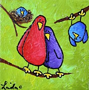 Papa Posters - Limb Birds - Two Blues Poster by Linda Eversole