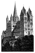 Limburg Framed Prints - Limburg Cathedral beautiful detailed woodblock print Framed Print by Christos Georghiou