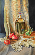 Glass Reflections Framed Prints - Lime And Apples Still Life Framed Print by Irina Sztukowski