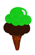 Ice Cream Illustration Prints - Lime And Chocolate Ice Cream Print by Andee Photography