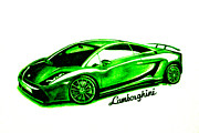 Lime Framed Prints - Lime Green Lamborghini Framed Print by Teshia Art