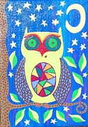 Owl Paintings - Lime Green Owl by Kerri Ambrosino GALLERY
