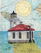 Map Art Painting Posters - Lime Kiln Lighthouse WA Nautical Chart Map Art Cathy Peek Poster by Cathy Peek