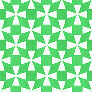 Triangles Prints - Lime Twirl Print by Linda Woods