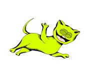 Cartoon Drawings - Limelight Cat Laughing by Pet Serrano