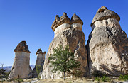 Chimneys Framed Prints - Limestone Fairy Chimneys Zelve Cappadocia Framed Print by Robert Preston