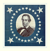 Lincoln Portrait Framed Prints - Lincoln 1860 Presidential Campaign Banner - Bust Portrait Framed Print by John Stephens