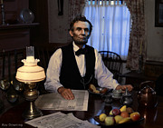 Presidential Digital Art Prints - Lincoln at Breakfast 2 Print by Ray Downing