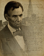 Civil War Lincoln Posters - Lincoln at Gettysburg Poster by Ray Downing
