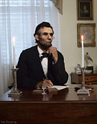 Abraham Lincoln Pictures Posters - Lincoln at his Desk 2 Poster by Ray Downing