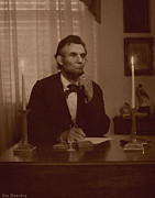 Civil War Photos Posters - Lincoln at his Desk Poster by Ray Downing