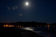 Lincoln City Framed Prints - Lincoln City Moonlight Framed Print by John Daly