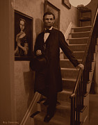 Abraham Lincoln Drawings Digital Art - Lincoln Descending Staircase by Ray Downing