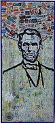 Fourth Of July Mixed Media Prints - Lincoln- Hawaii Print by Alireza Vazirabadi