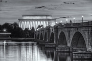 D.w. Prints - Lincoln Memorial and Arlington Memorial Bridge at Dawn II Print by Clarence Holmes