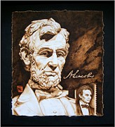 Politicians Pyrography Prints - Lincoln Memorial and the younger Print by Cynthia Adams