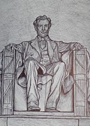 Abraham Lincoln Drawings Posters - Lincoln Memorial Poster by Christy Brammer