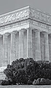Symetrical Posters - Lincoln Memorial Pillars BW Poster by Susan Candelario