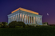 Blue Hour Prints - Lincoln Memorial Under The Stars Print by Susan Candelario