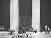 Black And White Digital Art Posters - Lincoln Memorial - Washington DC Poster by Mike McGlothlen
