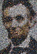 Montage Drawings Posters - Lincoln Political Button Mosaic Poster by Paul Van Scott