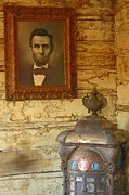 Old House Photographs Posters - Lincoln Portrait in Old West School Room Poster by John Malone