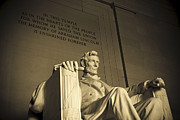 Memorial Posters - Lincoln Statue in the Lincoln Memorial Poster by Diane Diederich