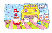 Oven Drawings Prints - Linda Blondheim Art Toons Cake baker Print by Linda Blondheim
