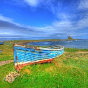 John Kelly Prints - Lindisfarne by the Sea Print by John Kelly